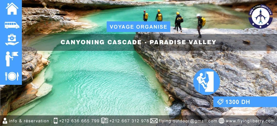 FORMULAIRE D'INSCRIPTION-VOYAGE ORGANISÉ-CANYONING-CASCADE-PARADISE-VALLEY VOYAGE ORGANISE CANYONING CASCADE PARADISE VALLEY 1140x520